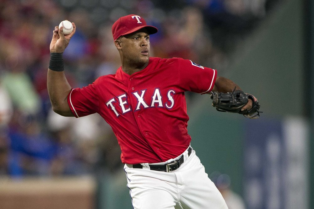 Adrian Beltre throws the ball.