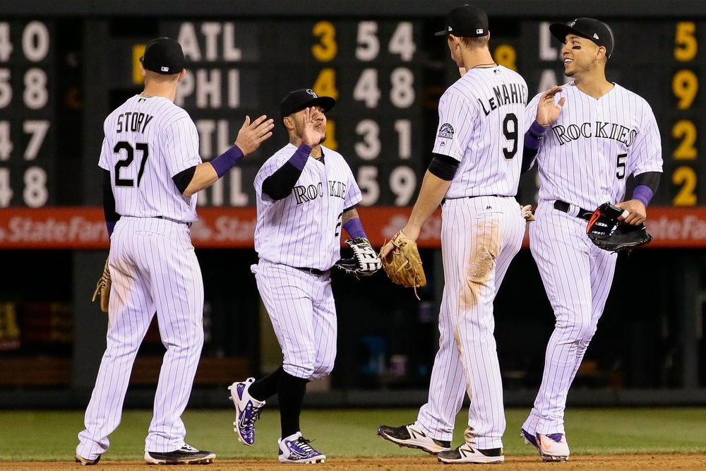 The Rockies congratulate each other after another win.