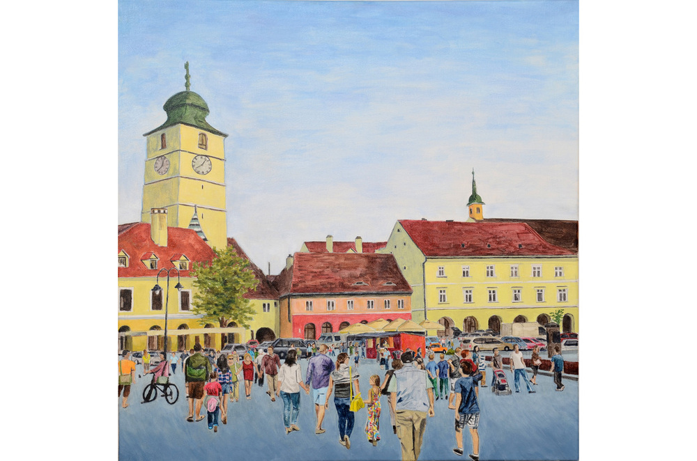 Piata Mica, Sibiu, Romania, 2014, acrylic on canvas, 32 x 32 in