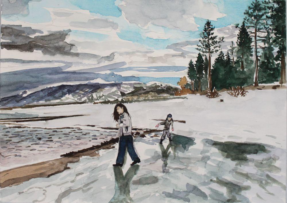 Frozen lake, 2016, watercolor 9 x 12 in.