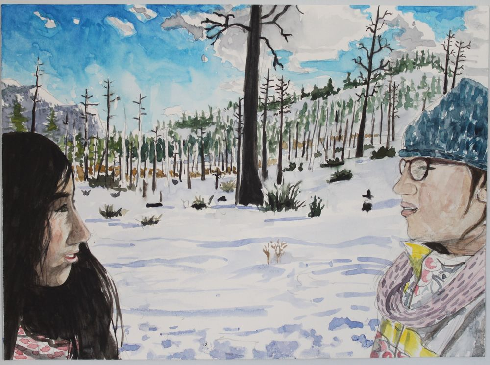 Chloe and Clementine in the Snow, 2016, watercolor, 11 x 14 in.