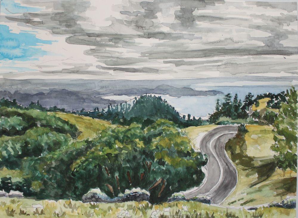 Mt. Tam Road, 2016, watercolor, 9 x 12 in.