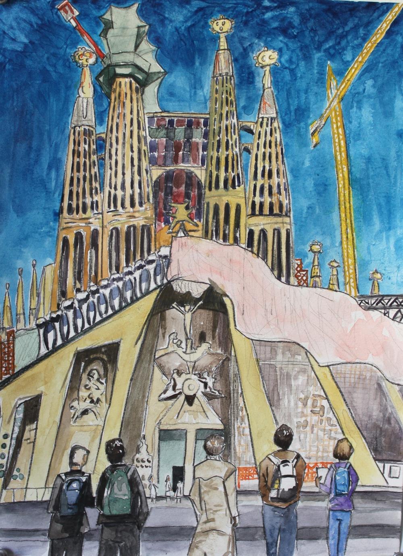 Sagrada Familia, 2016, watercolor, 14 x 9 in.