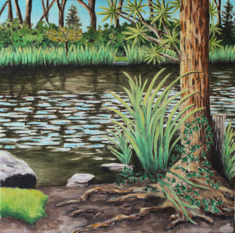 Stow Lake, San Francisco, 2016, acrylic on canvas, 18 x 18""