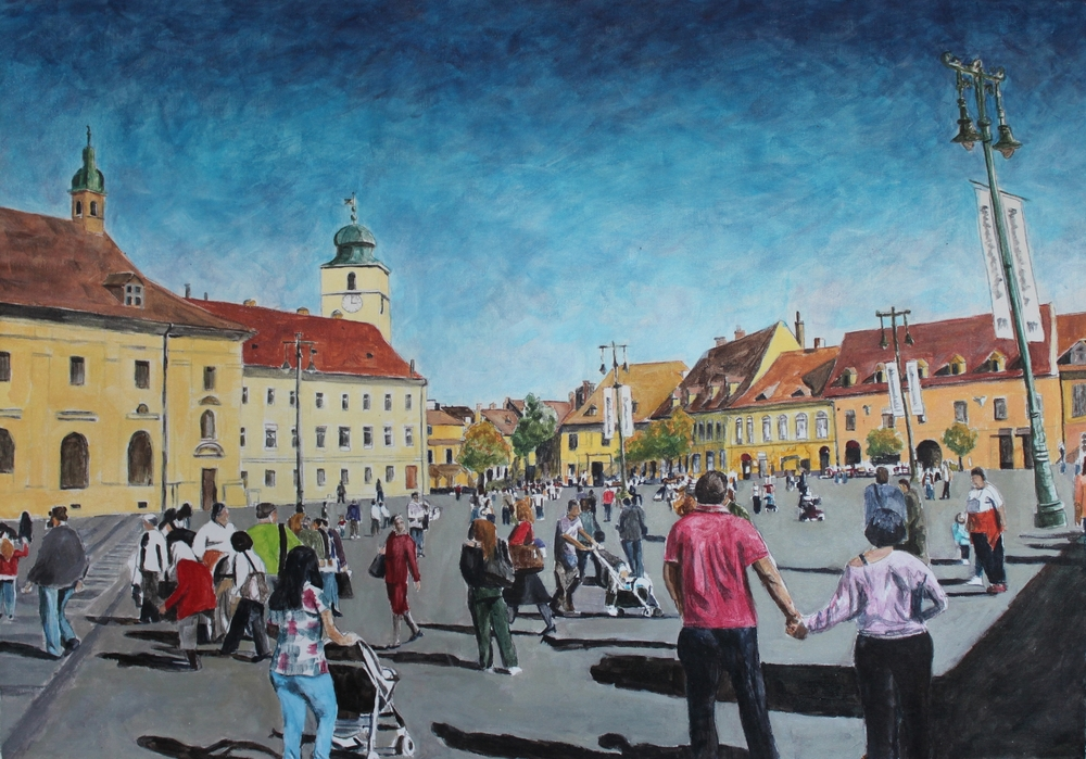 Piata Mare, Sibiu, Romania, 2014, acrylic on canvas, 32 x 42 in