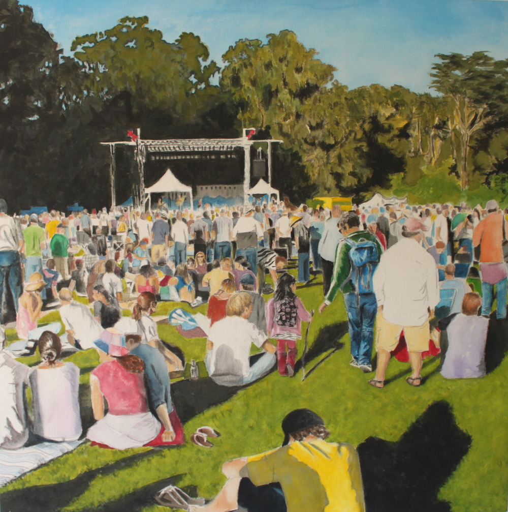Golden Gate Park Crowd, 2011, acrylic on canvas, 36 x 36 in.
