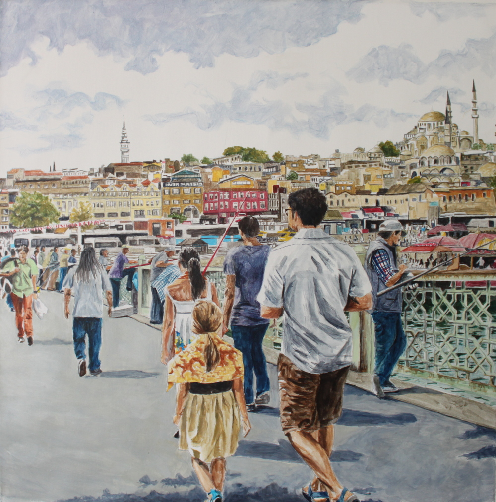 Galata Bridge, Istanbul, 2015, acrylic on canvas, 32 x 32 in