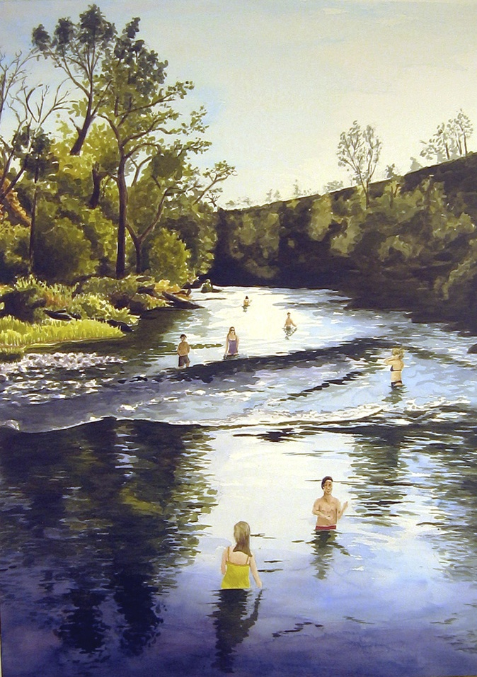 Wading in the Creek, 2008, watercolor & acrylic on paper, 41 x 30 in.