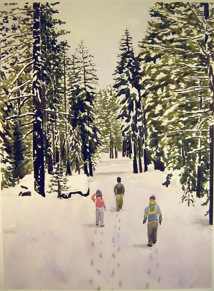 Walking in the Snow, 2008, watercolor on paper, 41 x 30 in.