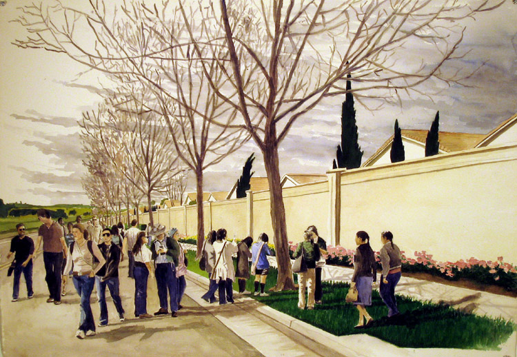 People in Suburban Street, 2010, watercolor and acrylic on paper, 30 x 41 in.