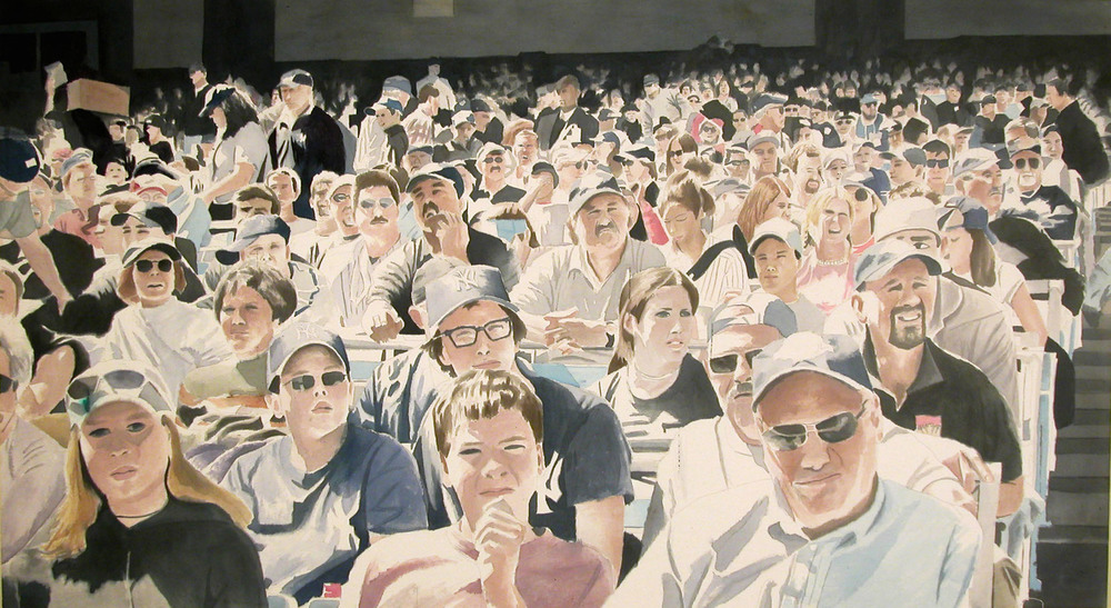 Yankees Crowd, 2004, acrylic on canvas, 40 x 72 in