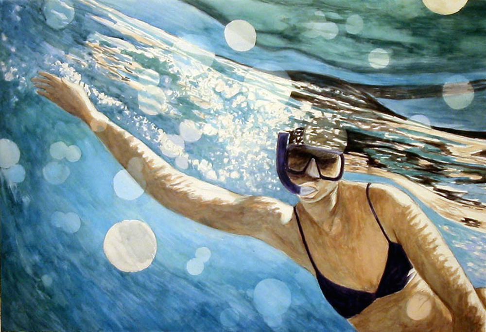 Ramona Snorkeling 3, 2007, watercolor & acrylic on paper, 30 x 41 in.