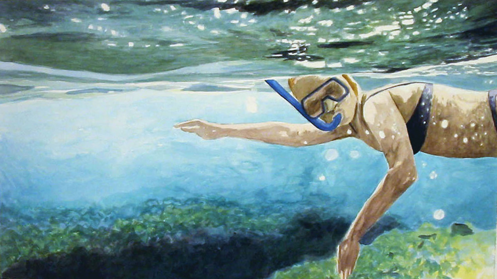 Ramona Snorkeling 2, 2007, watercolor & acrylic on paper 30 x 51 in.