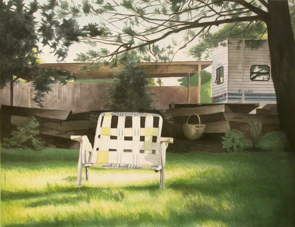 Lawnchair, 2002, acrylic on canvas, 36 x 48 in.