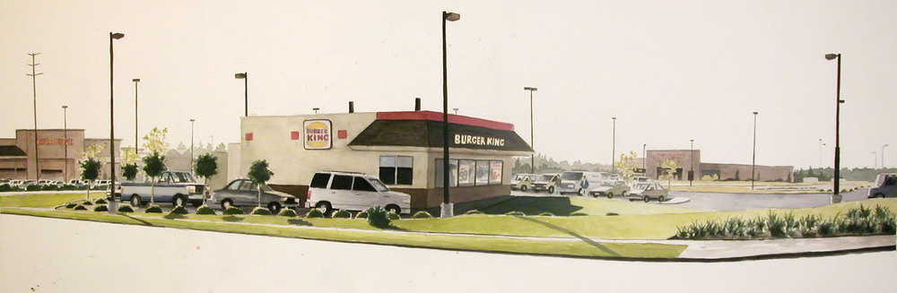 Drive Thru, 2003, watercolor, 18 x 62 in.