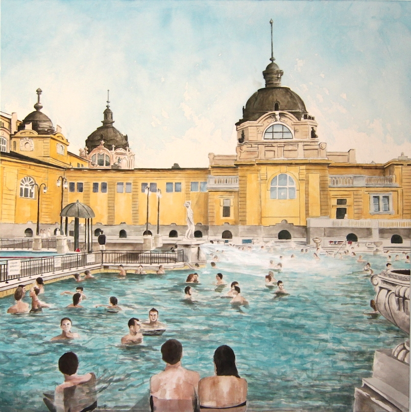Széchenyi Thermal Baths, Budapest, 2015, acrylic on canvas, 54 x 54 in.
