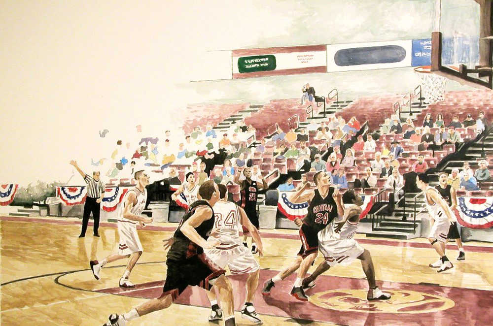 Basketball Game, 2006, watercolor, 30 x 41 in.