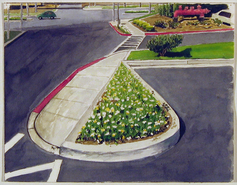 Parking Lot Flowers, 2007, watercolor, 9 x 12 in.