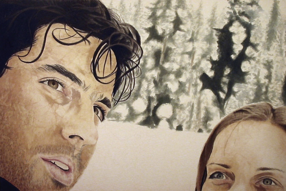 Arran and Ramona in the Snow, 2006, acrylic on canvas, 48 x 72 in.