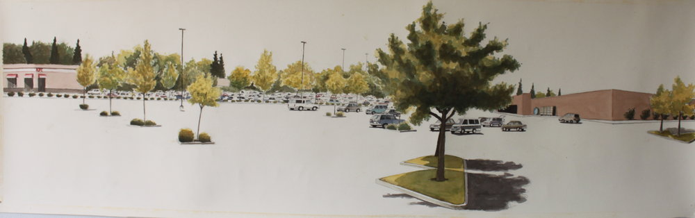 Mall Parking Lot, 2006, 22 x 60 inches, watercolor