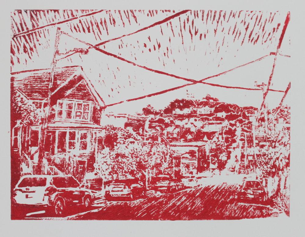 Bernal Hill print, 2016, 12 x 16 inches, linoleum block print