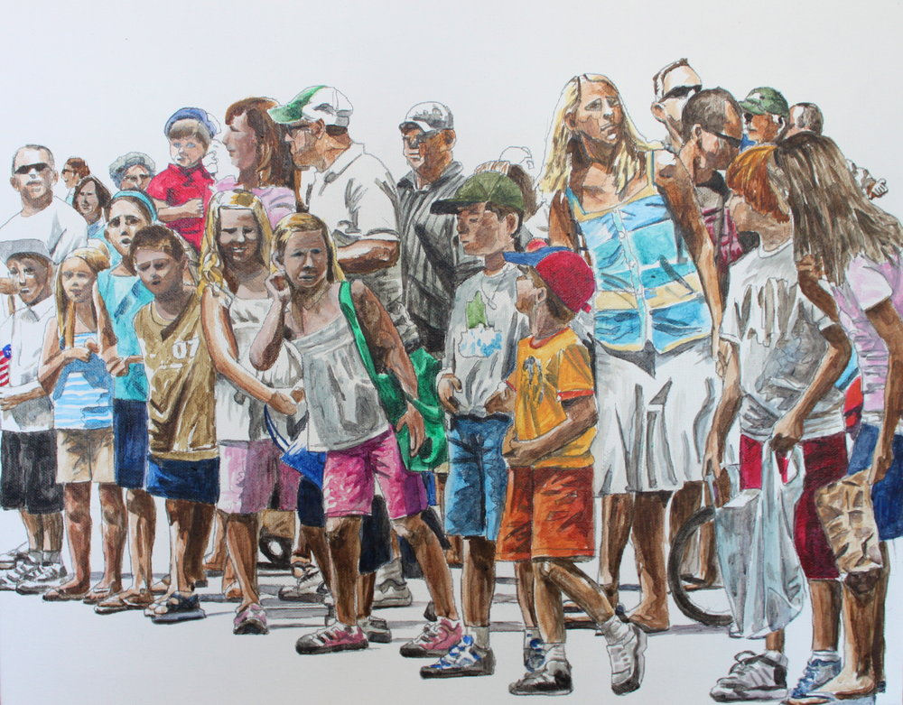 Parade Crowd, 2016, 16 x 20 inches,              acrylic on canvas