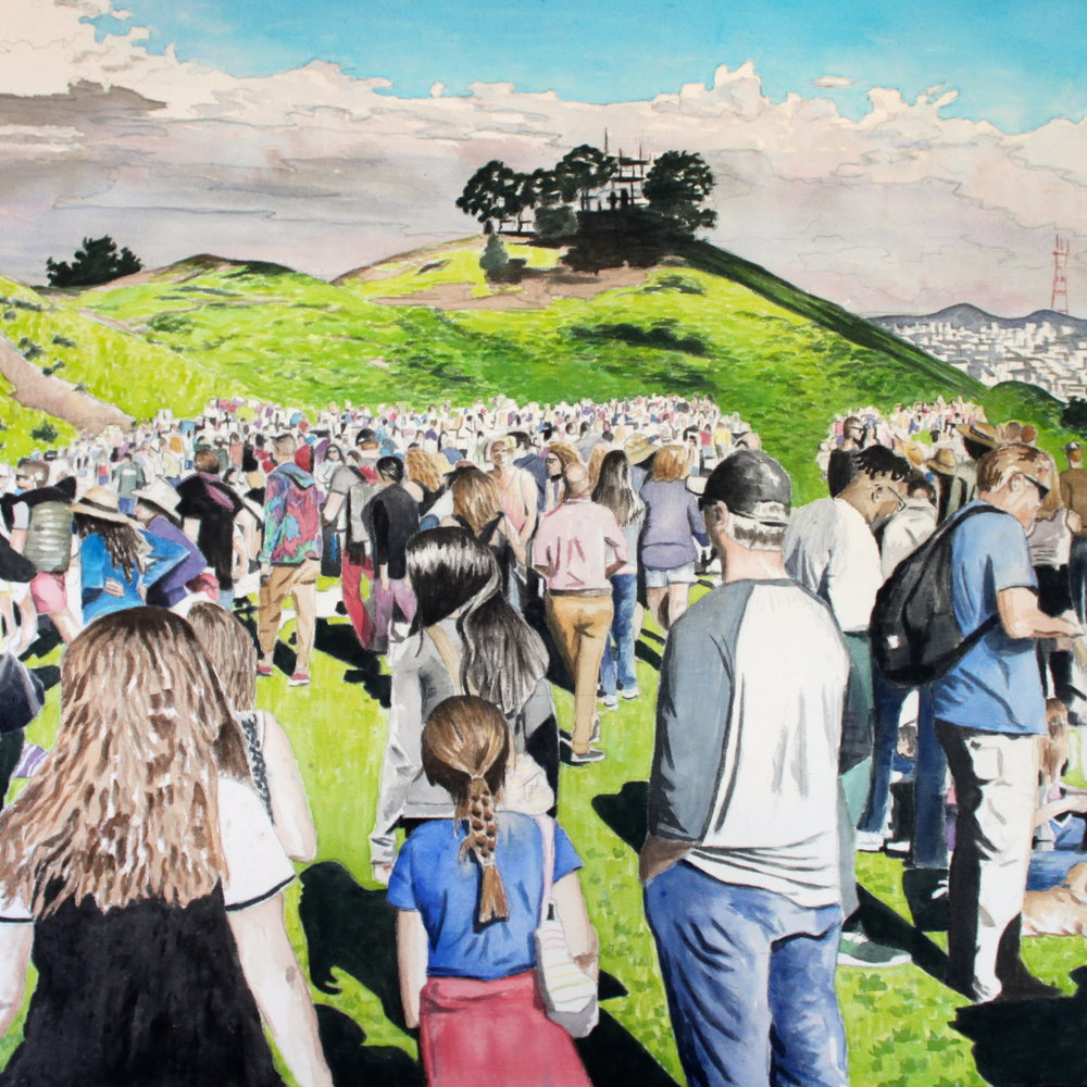 Bernal Hill Crowd, 2016, 36 x 36 inches,                      acrylic on canvas