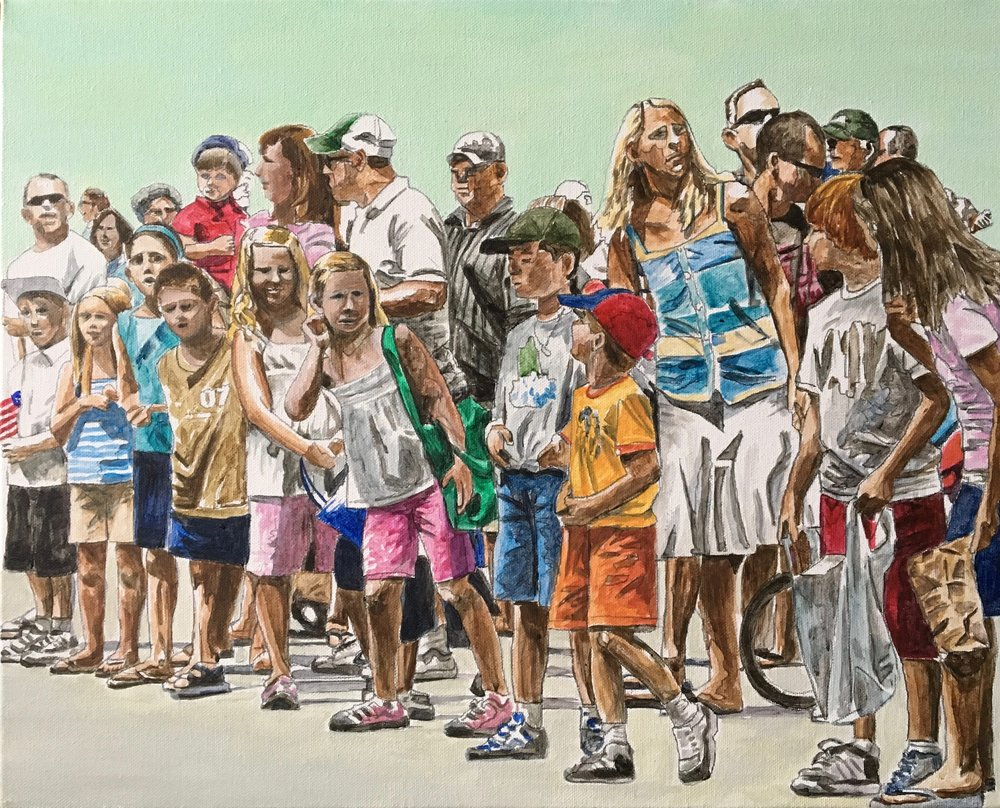 Parade Crowd 1, 2016, acrylic on canvas, 16 x 20 in.
