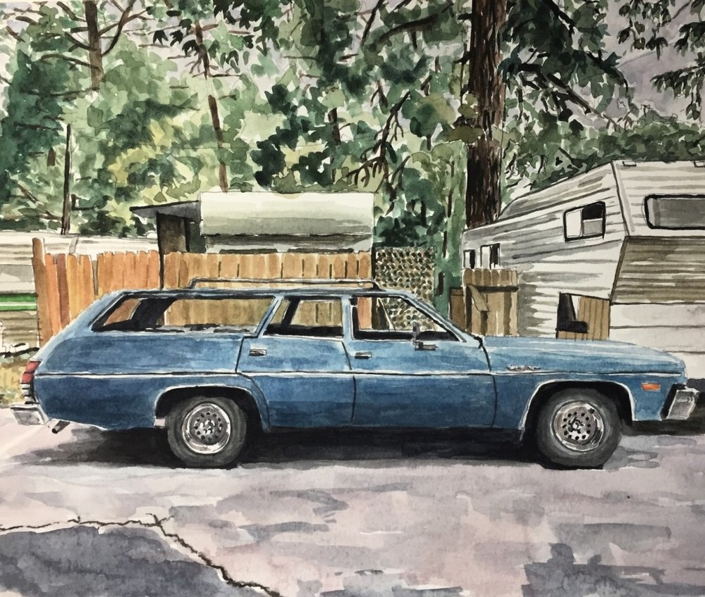 Station Wagon, California, 2017, watercolor, 11 x 14 inches