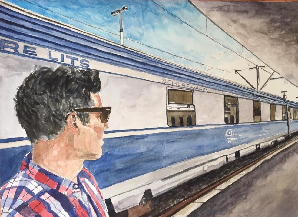 Train, Sibiu, Romania, 2017, watercolor, 11 x 14 inches