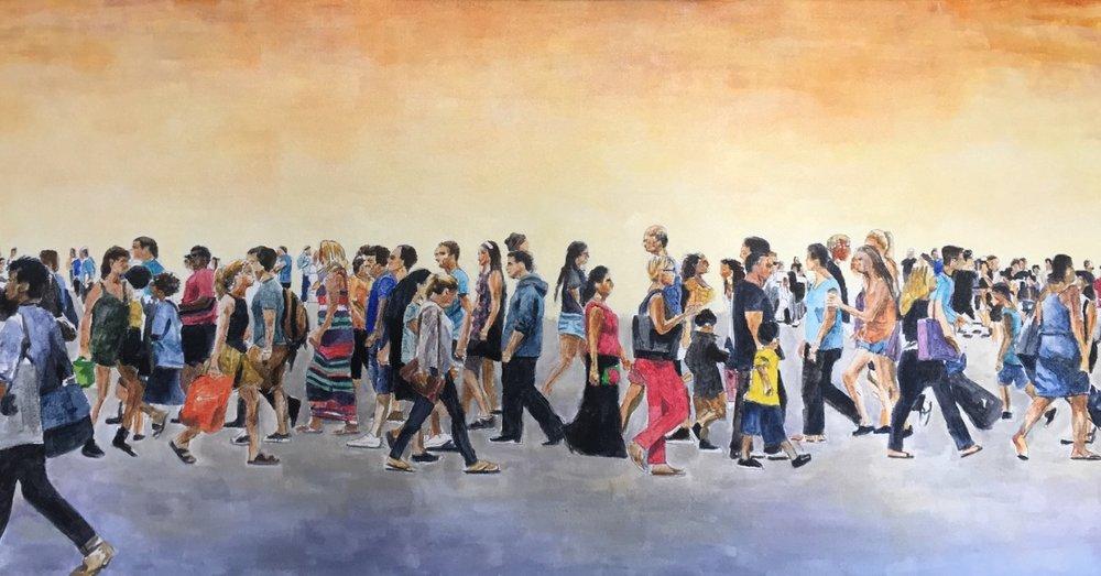 Street Crossing, 2018 , 18 x 36 in. acrylic on canvas