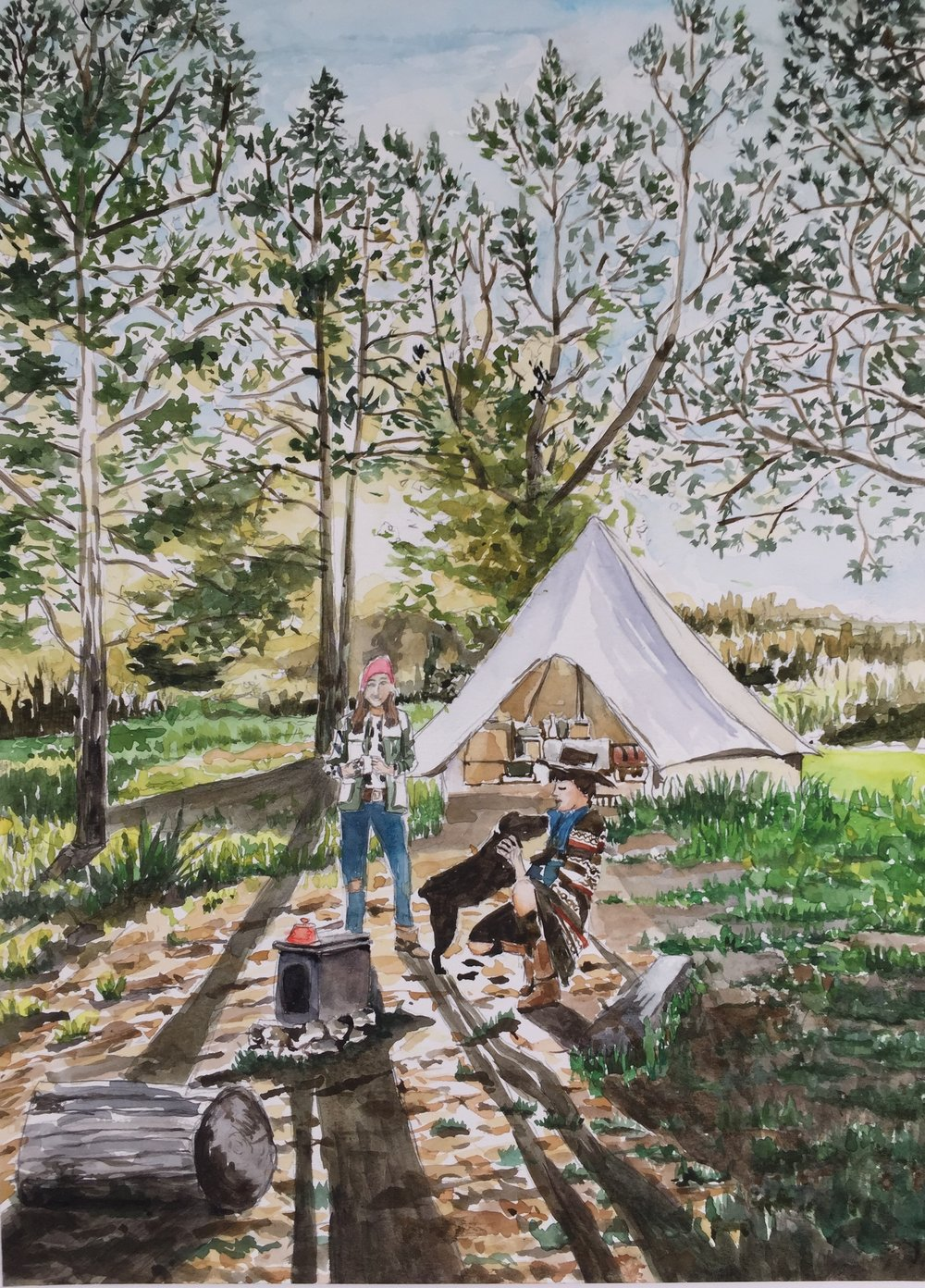 Camp with Dog, 15 x 11 in, watercolor.jpg