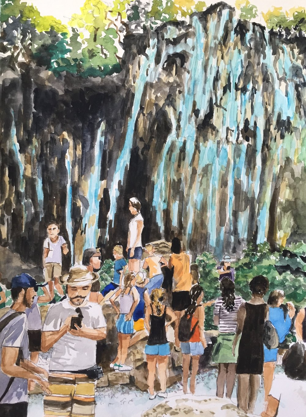Waterfall Crowd, Croatia, 2018, 15 x 11 in, watercolor