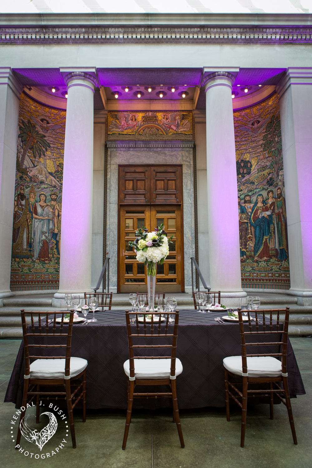 Winter Garden at the Currier Museum of Art.  Featured violet LED uplights, level three Masterpiece. Image by Kendal J. Bush Photography.
