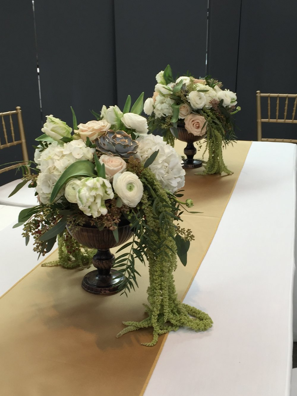 Malloy Events _ Currier Museum of Art _ Weddings _ Wedding florist _ hanging amaranthis