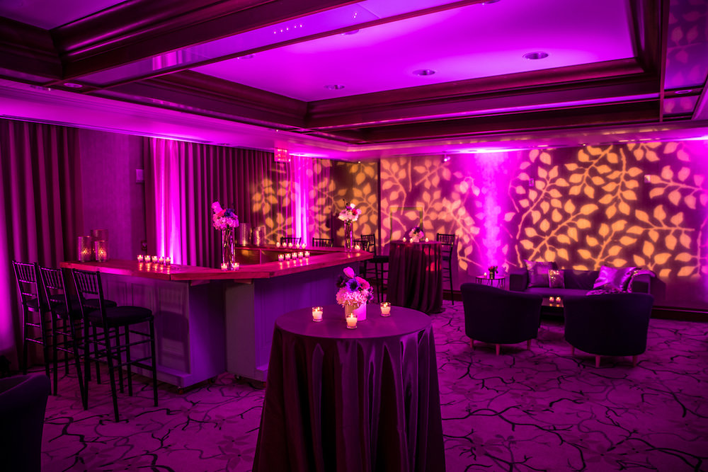The Crescent Room transformed into an after party lounge, complete with furniture, cocktail tables, and a custom bar where guests can sit and enjoy a night cap together. Image by Eric McCallister Photography.