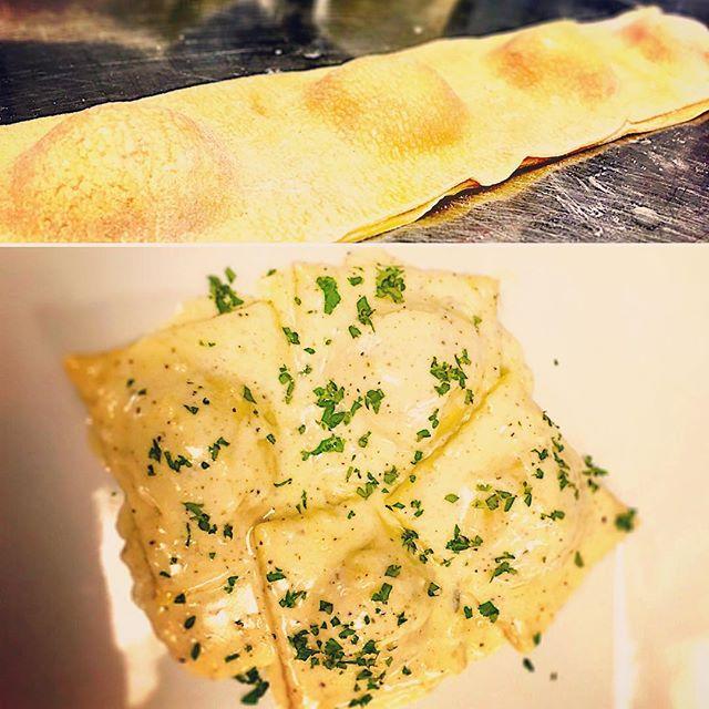 Trial run of our new #freshpasta mushroom ravioli in a garlic cream sauce. Yowza!!! You know you want some. #scratchcooking #grmi #grandrapidsmichigan #puremichigan #ravioli