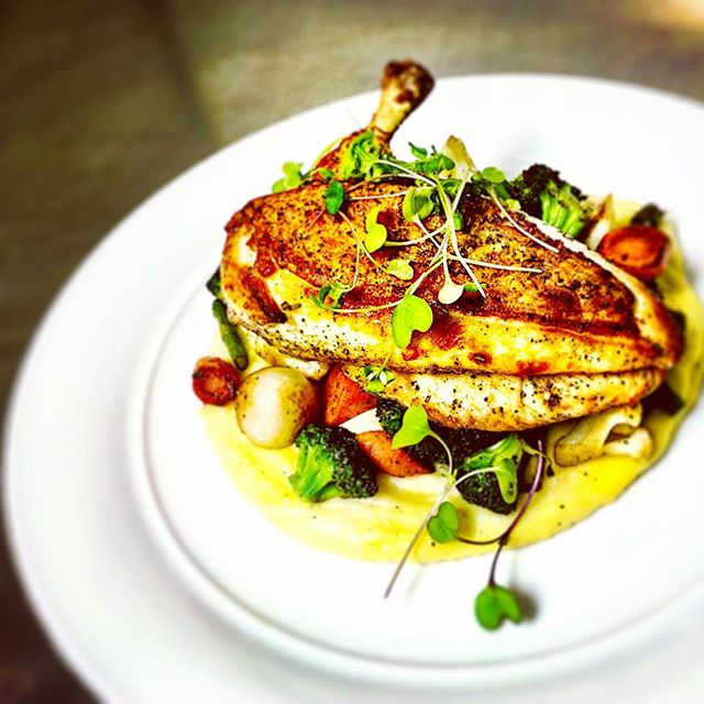 Coming soon to an event near you.... Rosemary Chicken Statler, charred veggies, roasted garlic/mascarpone potato puree. #localproduct #freshveggies #puremichigan #grandrapidsmichigan #healthyeating #mouthwatering