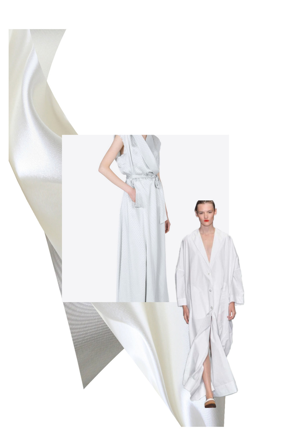 Centre Image:  Maison Margiela-  Silk Wrap Dress   Cut Out Image:  Eudon Choi Spring 15 via  style.com