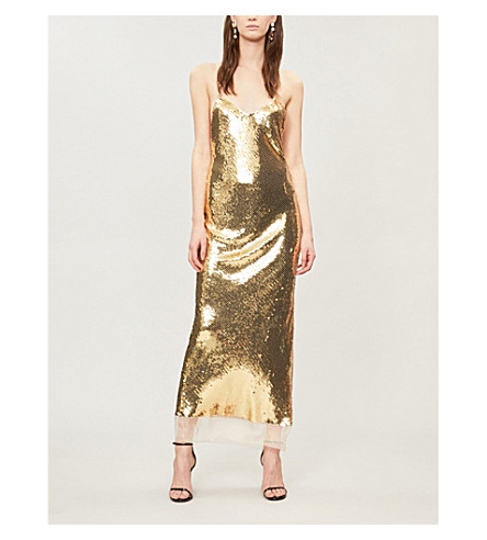 Crossover-back sequin gown