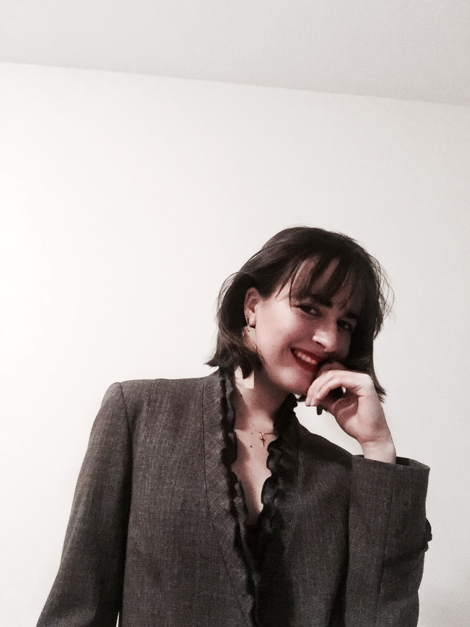 Earrings: COS  Suit: Thrifted  Bra:  The Pantry Underwear   Lips:  Rouje