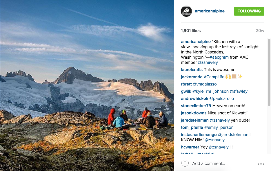 American Alpine Club Instagram Feed, October 2015