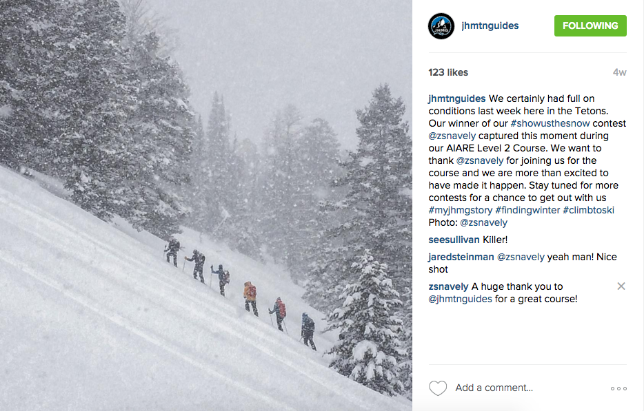 Jackson Hole Mountain Guides #Showusthesnow contest winner, February 2016