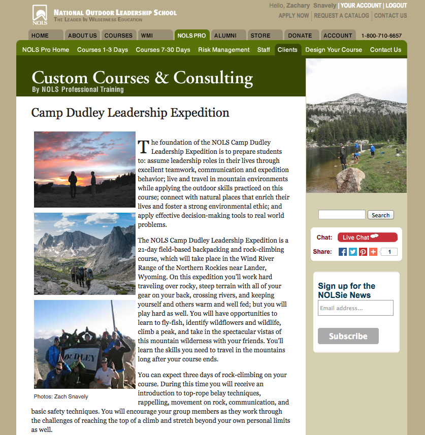 NOLS Website, June 2015