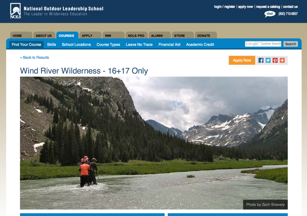 NOLS Website, Fall 2013