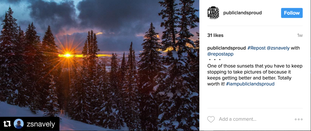 Public Lands Proud Instagram Feed, March 2017
