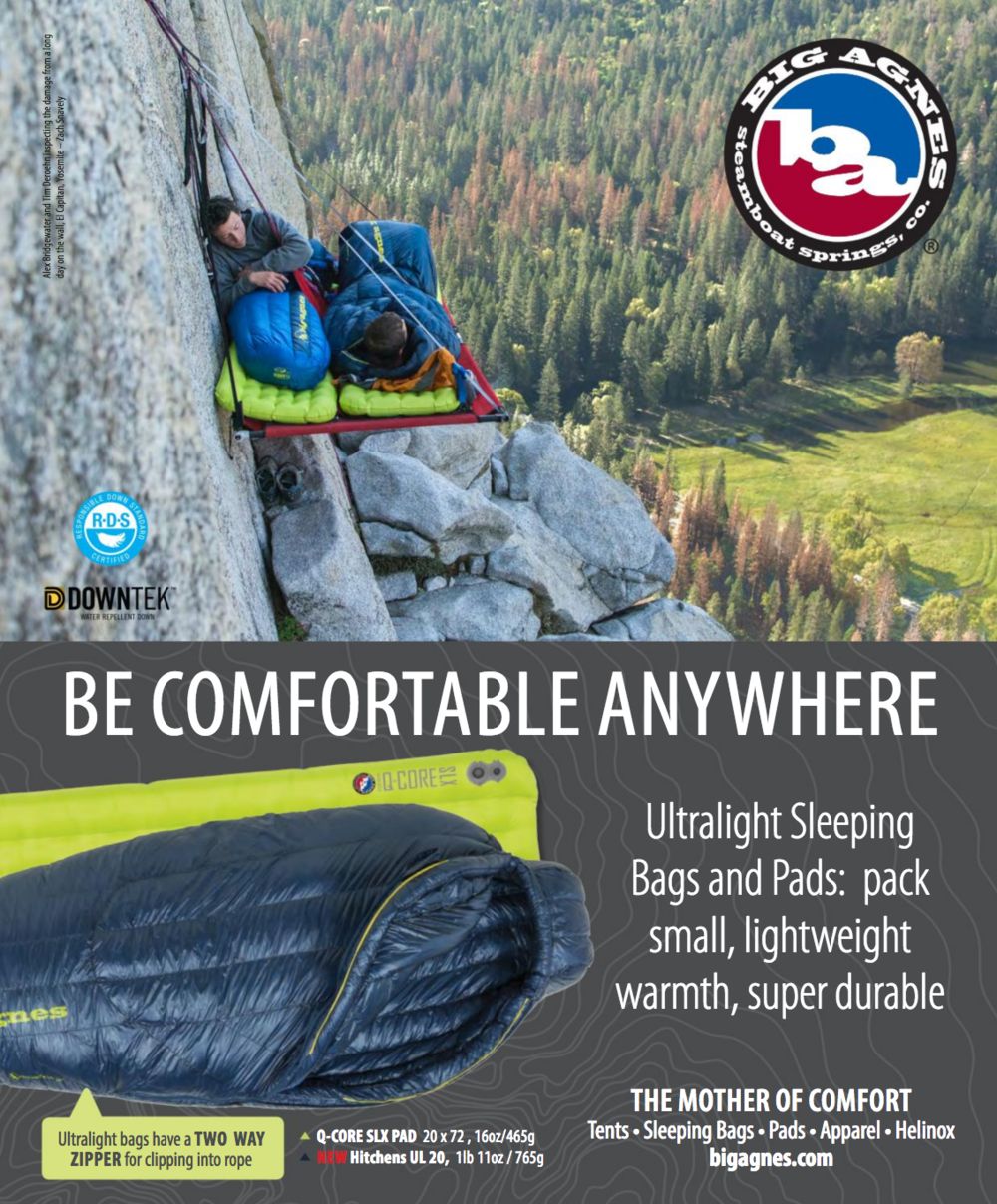 Big Agnes Advertisement, Rock and Ice and Gripped Magazines, 2017