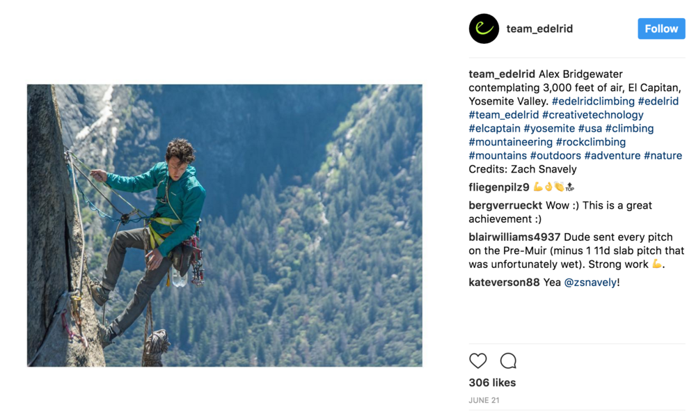 Edelrid Instagram Feed, June 2017
