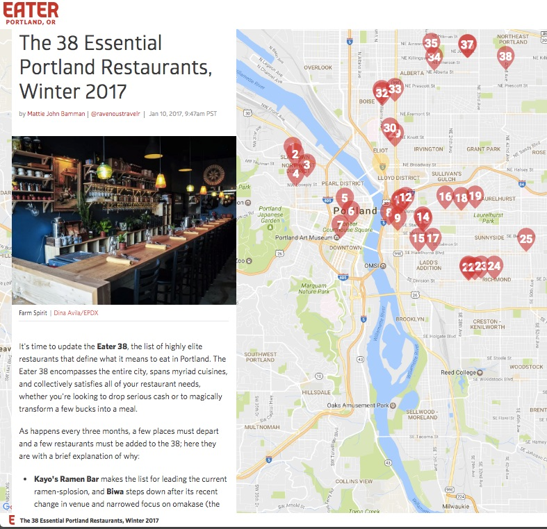 EATER: The 38 Essential Portland Restaurants, Winter 2017