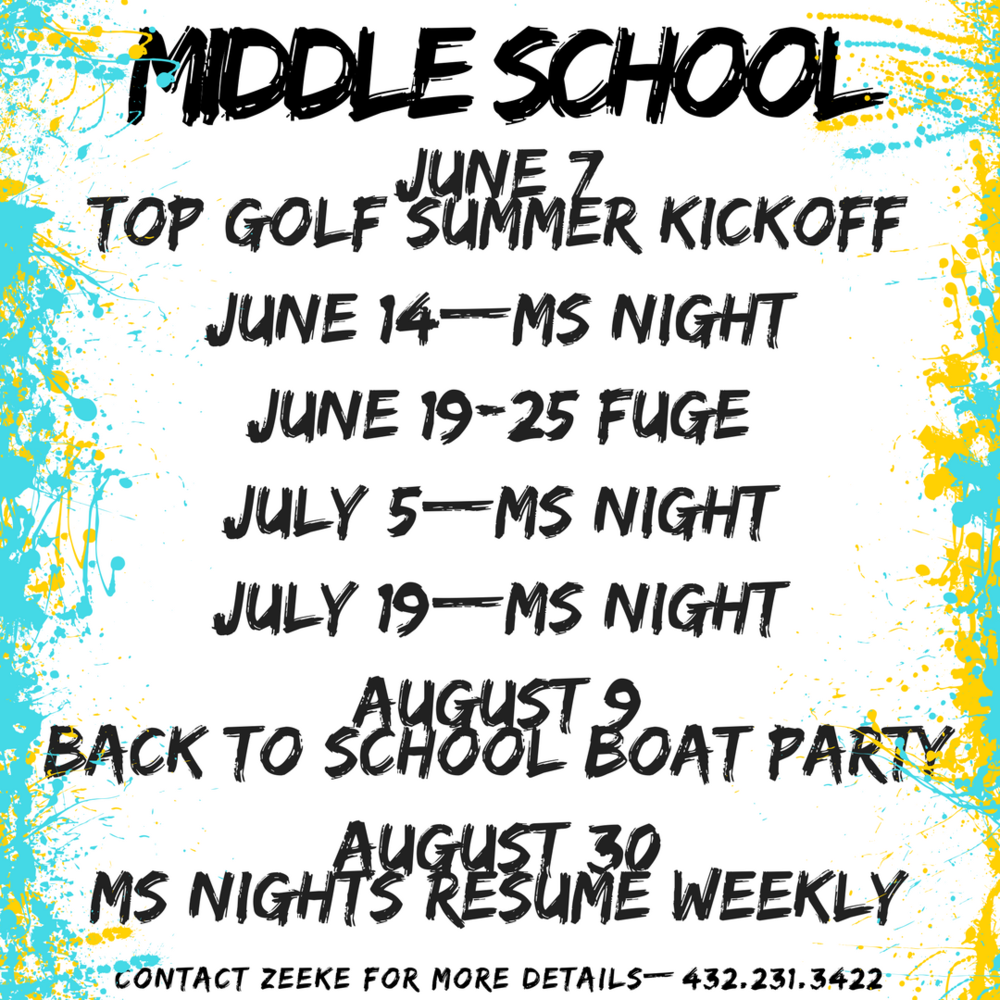 CHECK OUT ALL THE SUMMER ACTIVITIES FOR MIDDLE SCHOOLERS.